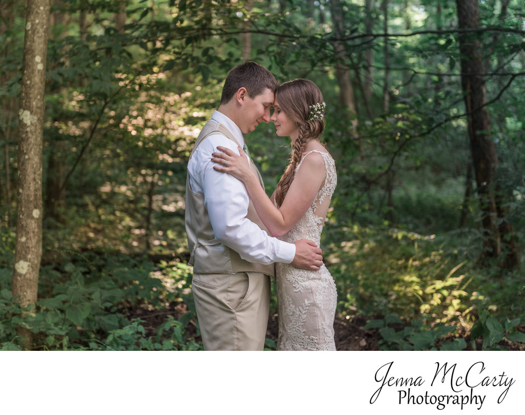 Bride and Groom in Woods at Country Cottage & Gardens