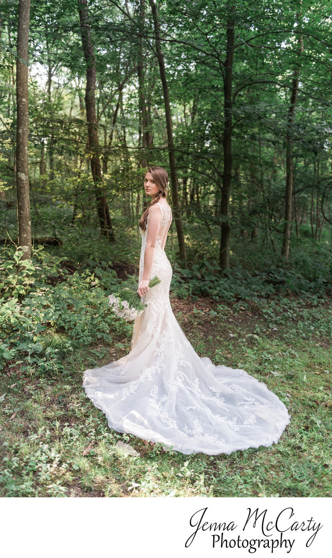 Beautiful Bride in Woods in Country Cottage & Gardens