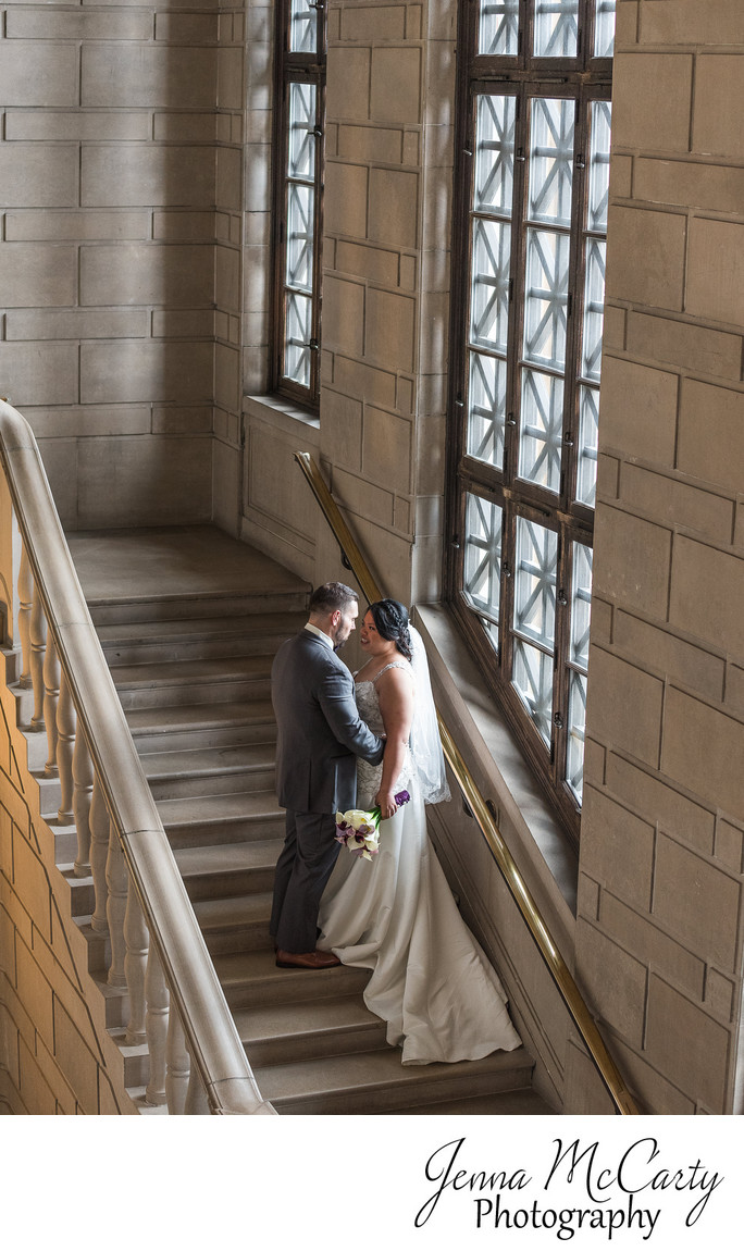 Bride and Groom on the Grand Staircase in Stambaugh