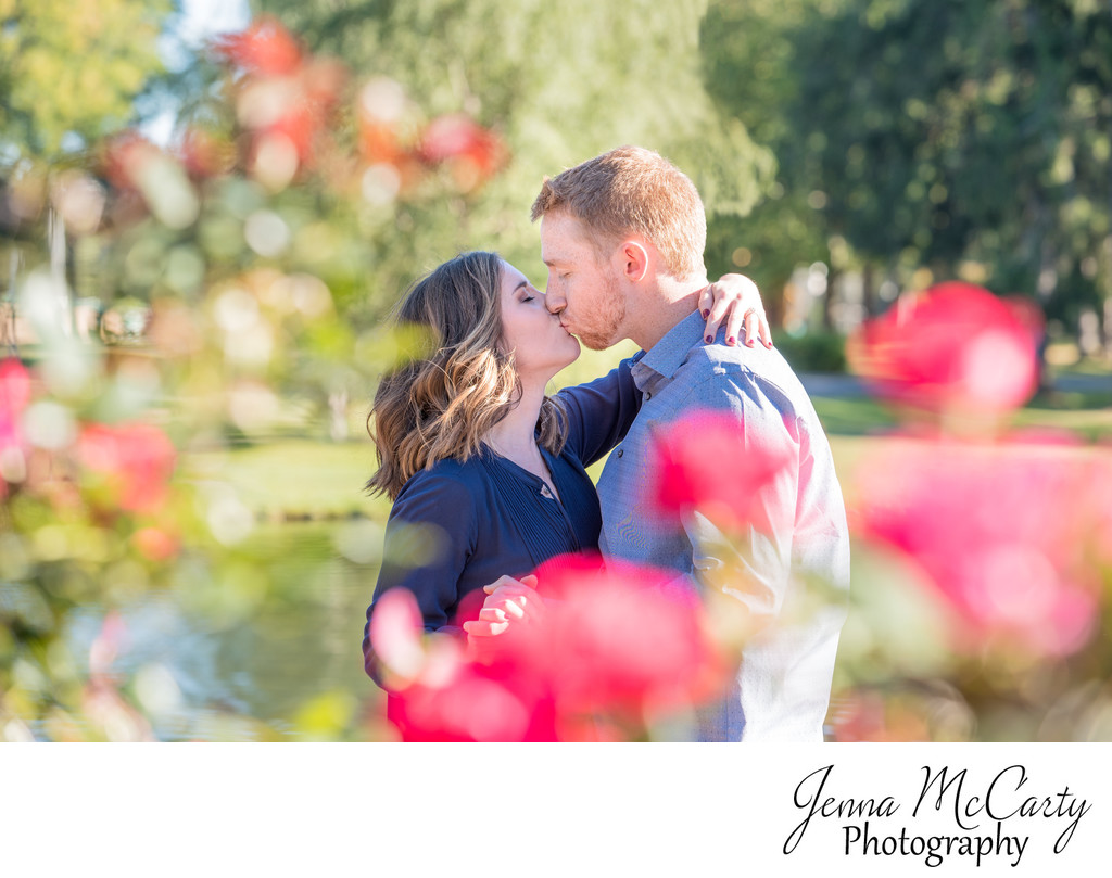 fall engagement session with flowers in grove city