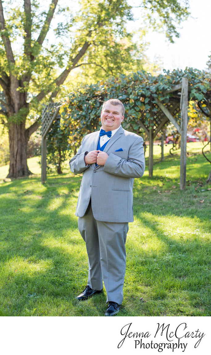 Groom Portrait before Ceremony in Canton, Ohio