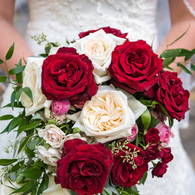 Red and White Bridal Bouquet in Youngstown, Ohio
