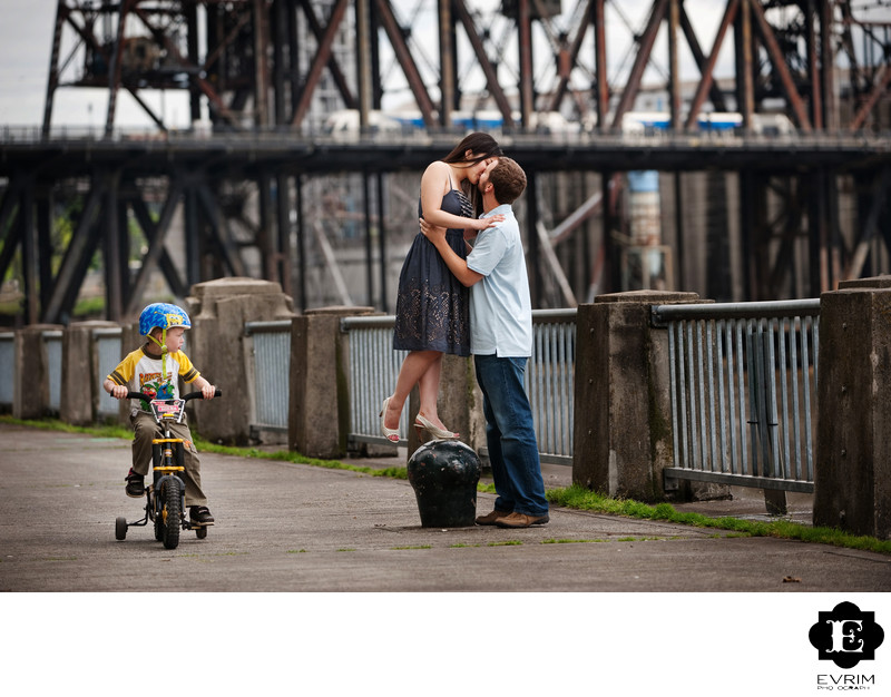 Funny Engagement Picture at Portland Water Front