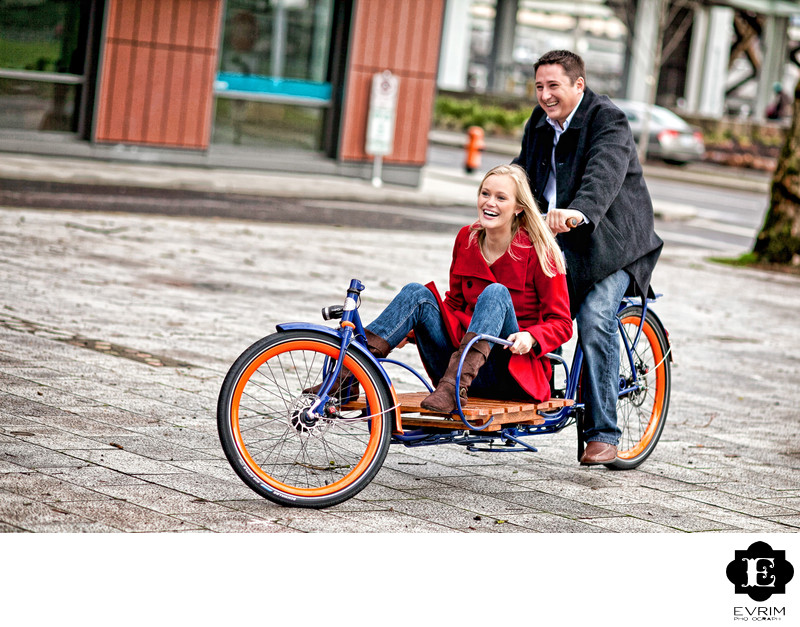 Tandem Bicycle Engagement Portrait