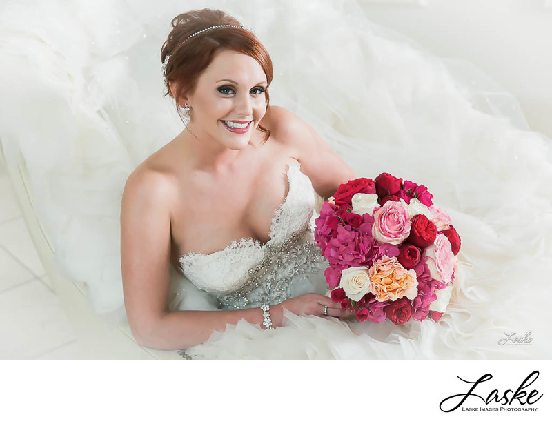 Bridal Picture of Bride and Bouquet on Wedding Day