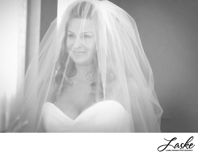 Bride looks out from her veil in this black and white portrait