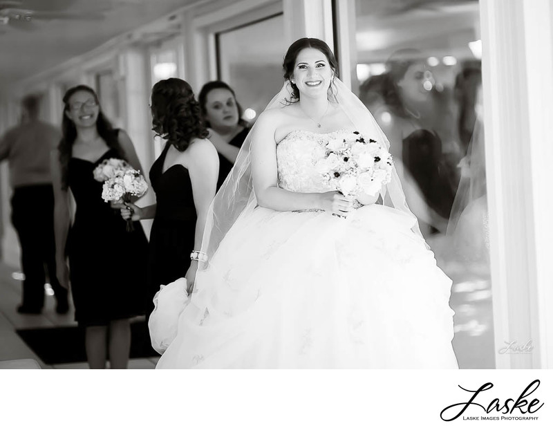 Black and White Bridal Portrait with Bridesmaids