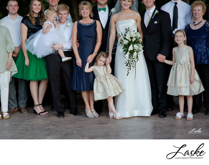 Wedding Day Family Portrait Girl Has Funny Face