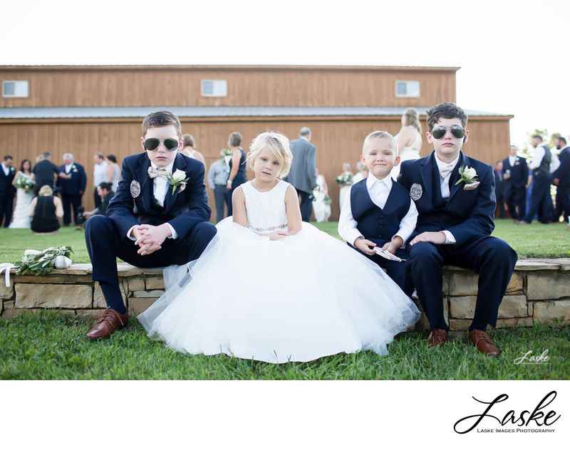 Oklahoma Wedding Photographers Flower Girl and Ring Bearers in Secret Service Outfits Guard Ring