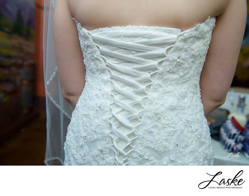 Back of a Brides Wedding Dress