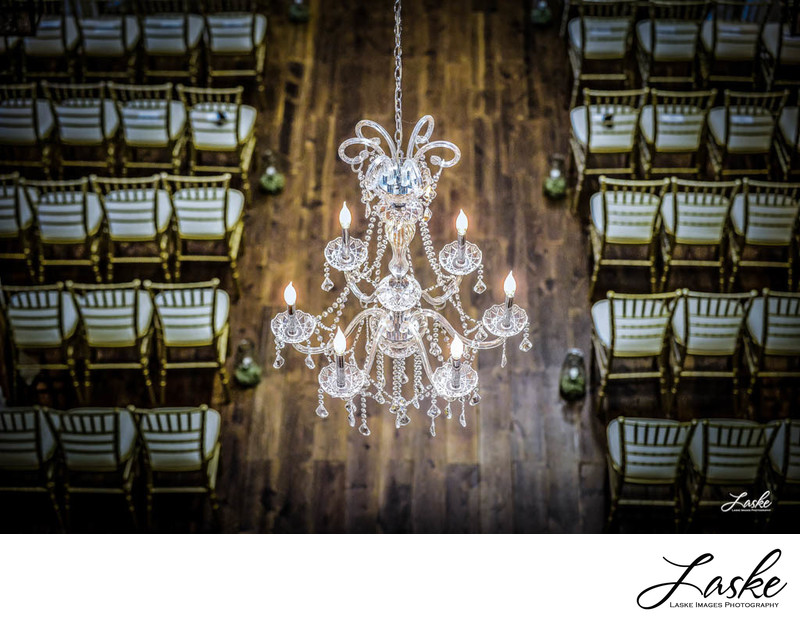 Chandalier from Balcony of the Southwind Hills Wedding Venue in Goldsby, Oklahoma