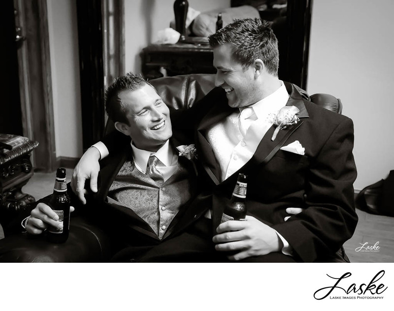 Groom Hugs on His Groomsman