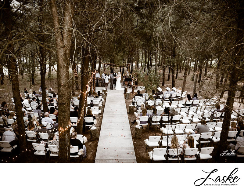 Upper View of Outdoor Wedding Ceremony in the Trees at Tres Suenos in Luther, Oklahoma