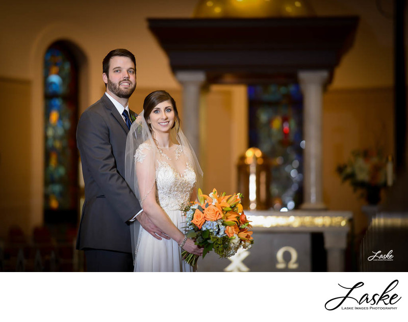 Bride and Groom Front of Church Portraits after Wedding