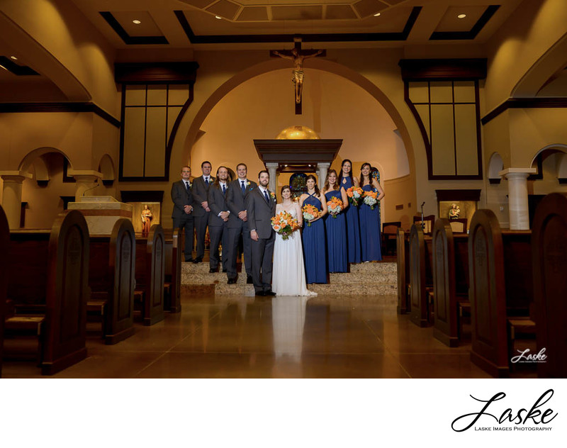 Wedding Party Portrait in the Church After Ceremony