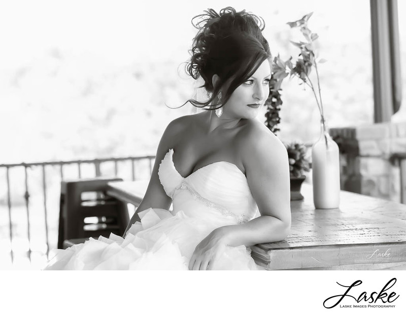 Bride Looks Away in Black and White