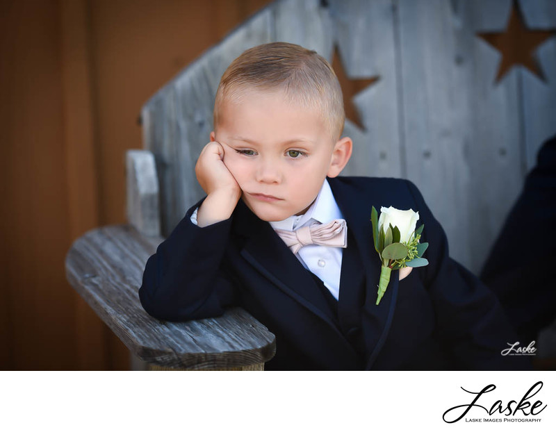 Bored Ring Bearer in His Tux