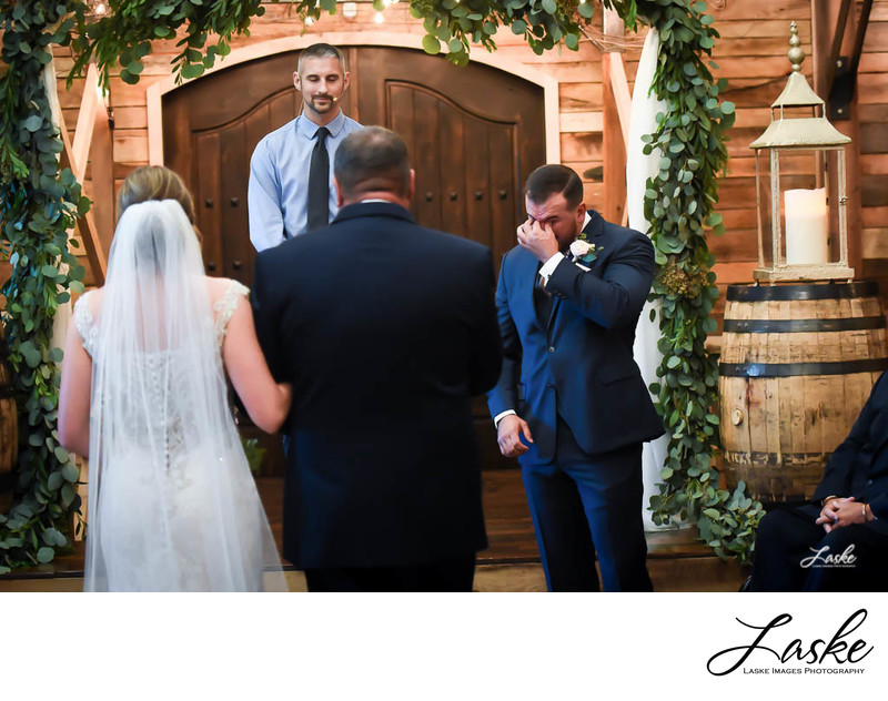 Groom Struggles to Stop Tears When He Sees His Bride