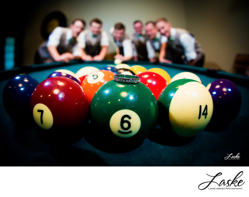 Groom and Groomsmen Portrait with Ring and Wedding Date on Pool Balls