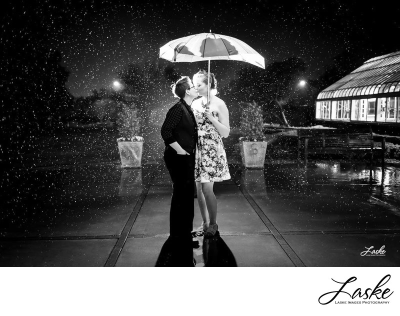 lgtb wedding Kiss in the Rain outside Atrium