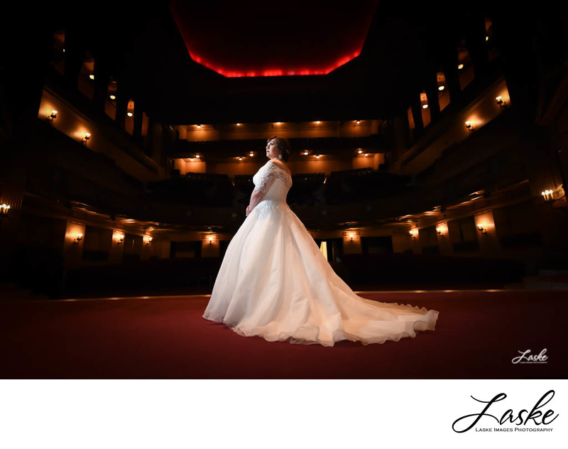 Bride Poses for Portrait Center Stage Theater