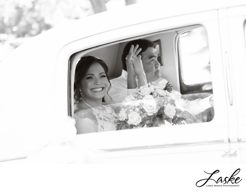 Bride Smiles as She and Her Father Ride in For Wedding Ceremony