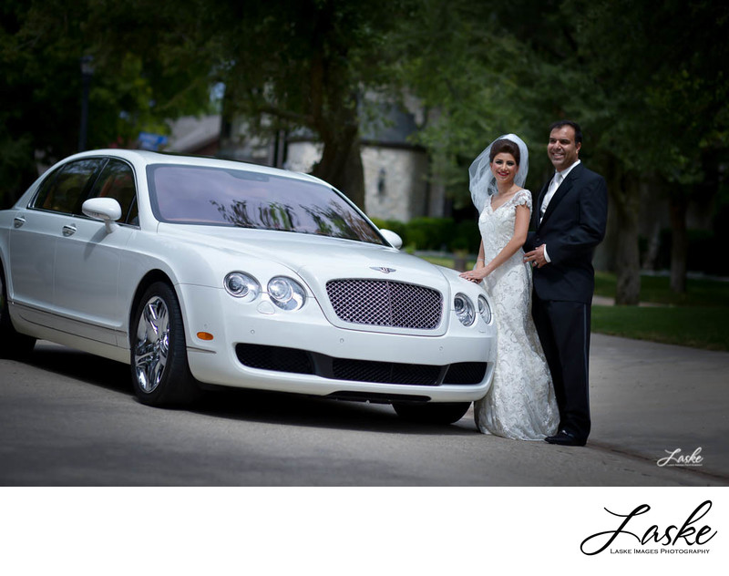 Lovely Persian Couple Poses By White Bentley on Wedding Day