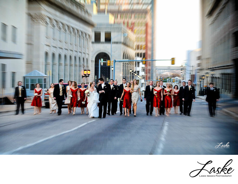 Large Wedding Party Walking Down Street in Downtown OKC