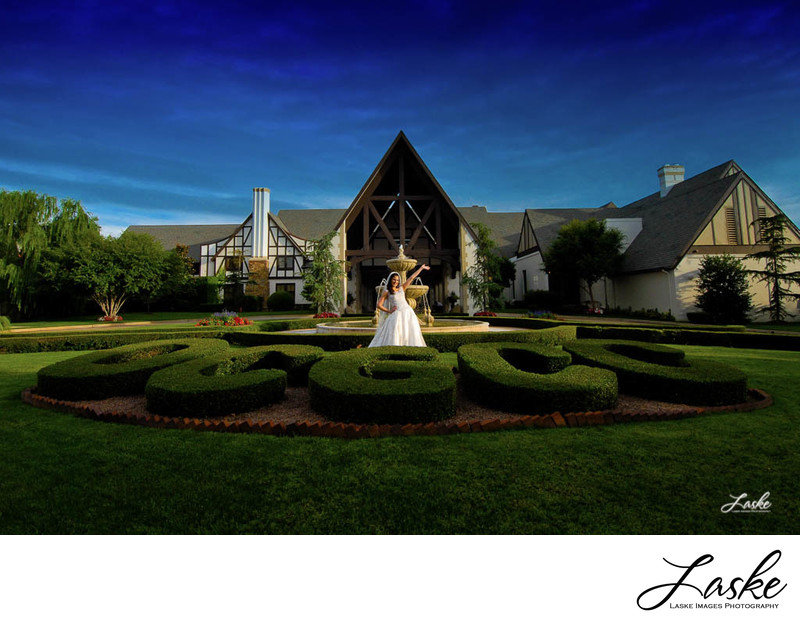 Bride Stands Outside the Oklahoma City Golf and Country Club