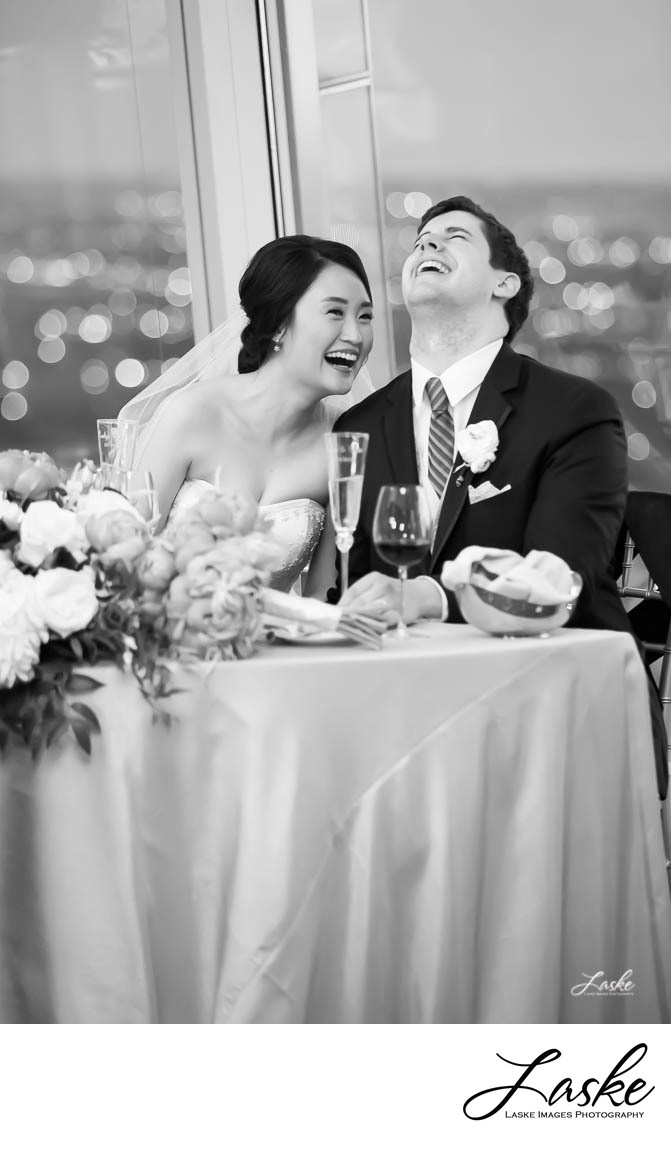 Bride and Groom Laughing at their Reception at Vast in Oklahoma City