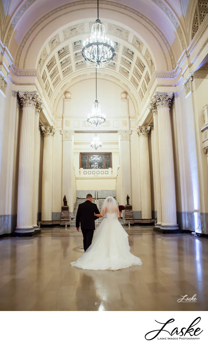 Bride and Groom Walk Away in Scottish Rite Temple in Guthrie