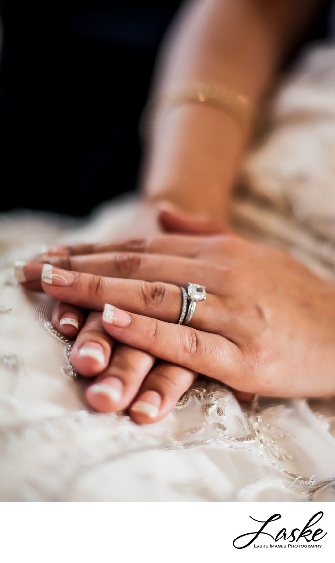A Bride's Hands With Wedding Ring