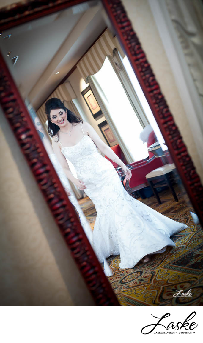 Smiling Bride Reflection in Mirror