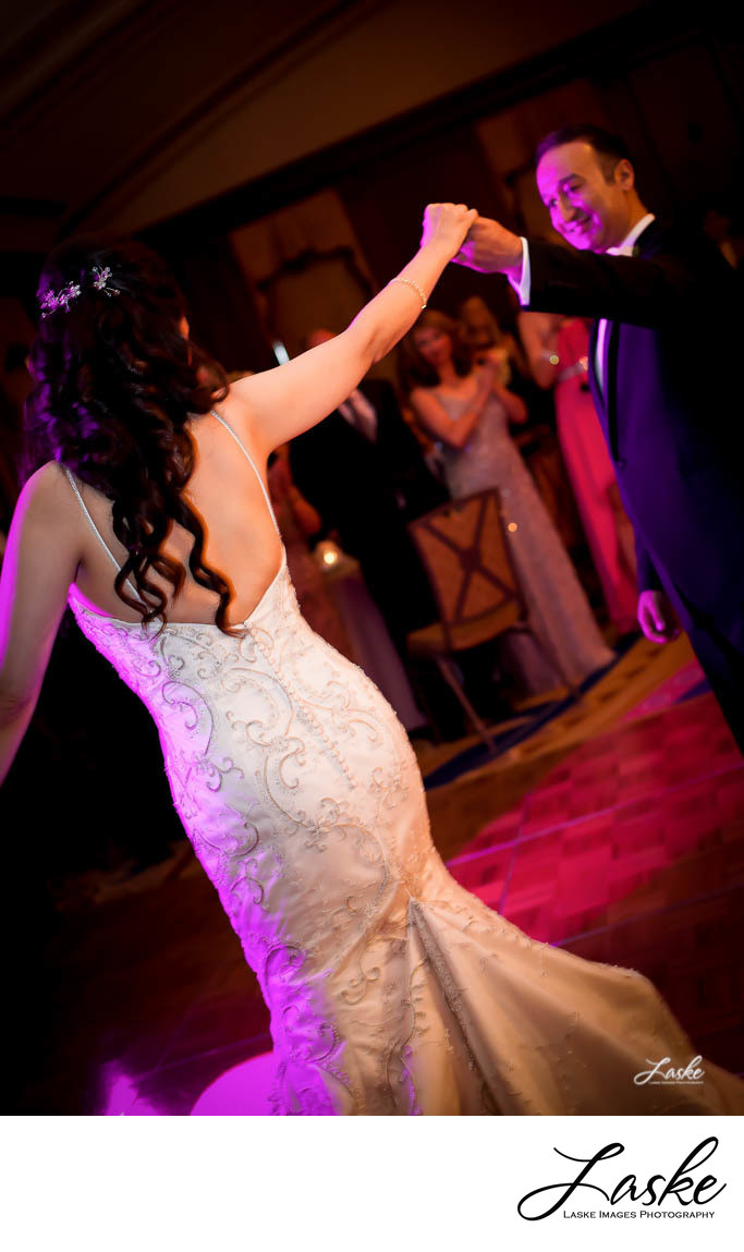 Groom dancing with Bride during Reception