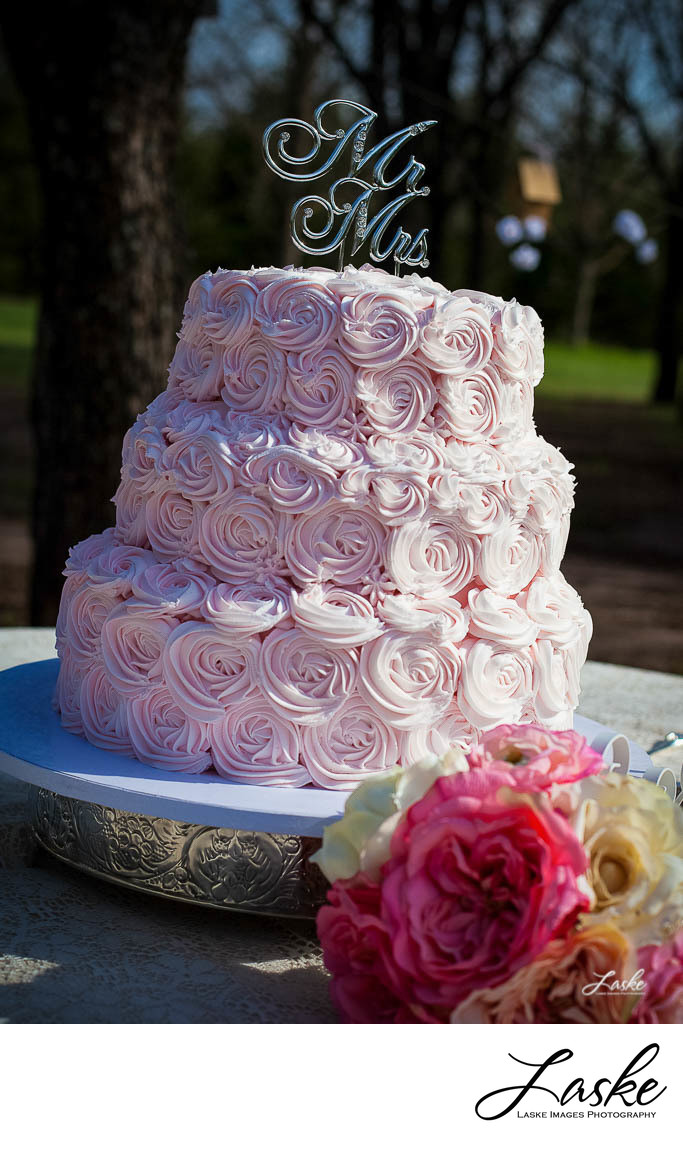 Pink Wedding Cake Outside Reception