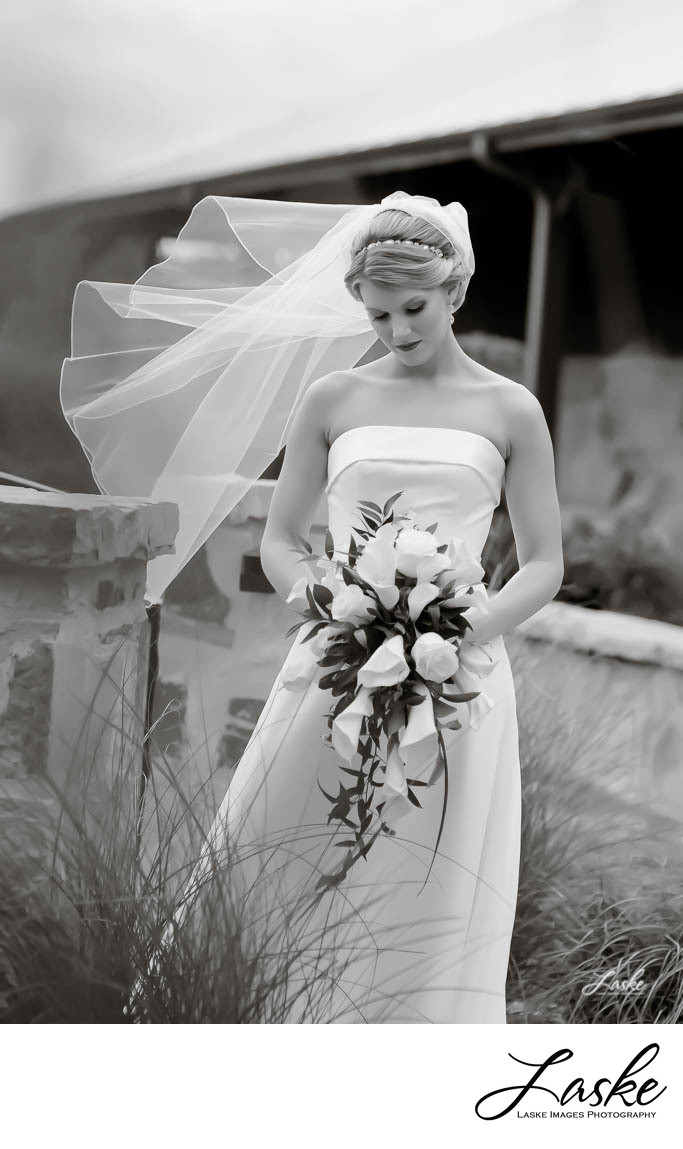 Bride Looks Down at Bouquet as Veil Blows in Wind