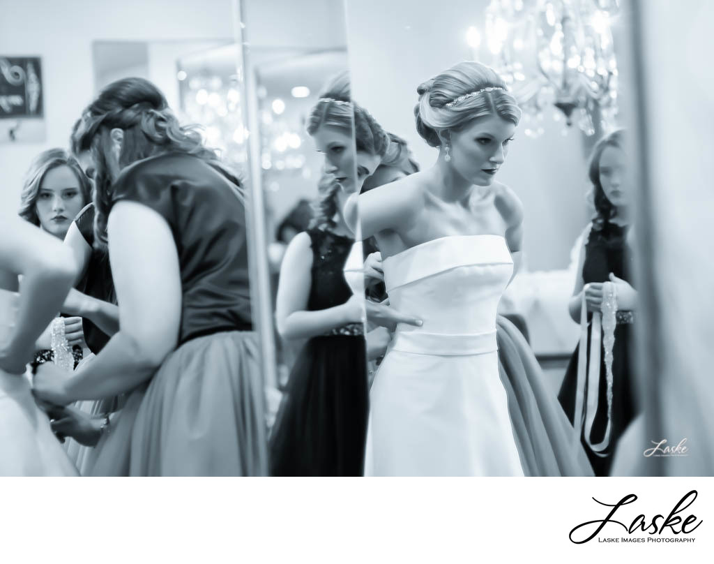 Bride Getting Ready in Front of Mirror on Wedding Day - Ellie Piper ...