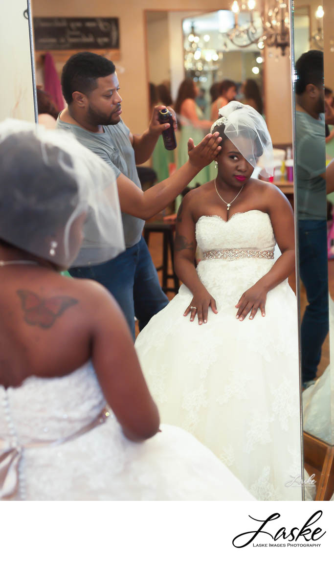 Bride Gets Her Hair Done on Her Wedding Day