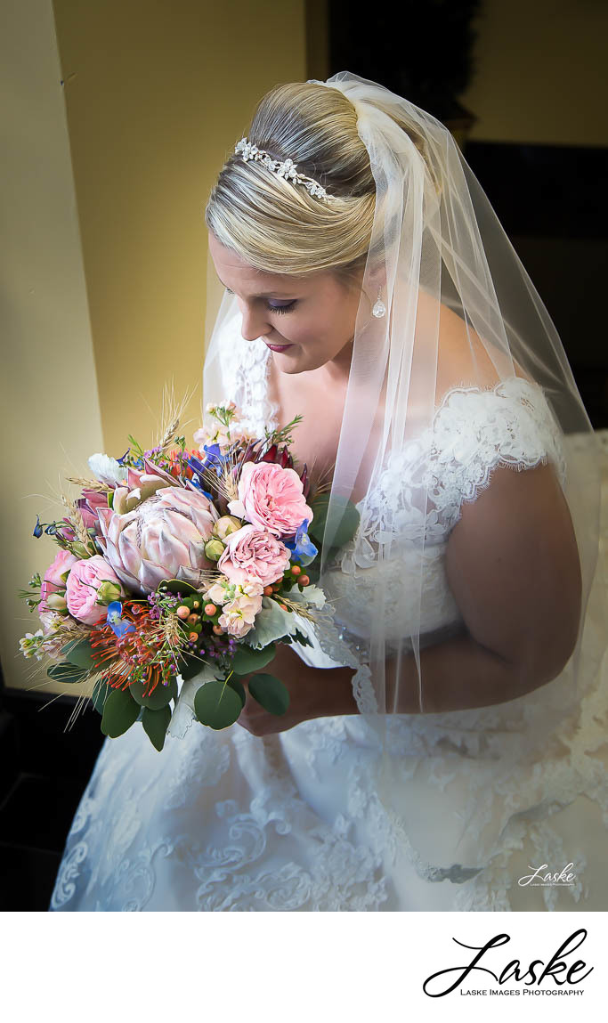 Close Up of the Bride Holding Her Bouquet