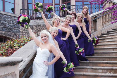 Bride and the Bridesmaids Line Stairs For Fun Picture