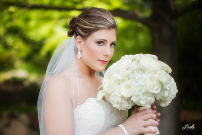 Bridal Portrait with Bouquet Outside of Dominion House