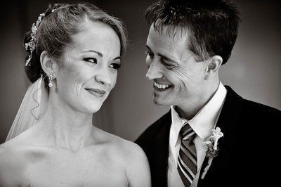 Bride Looks at Smiling Groom Black and White