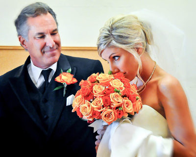 Father of Bride Admires His Daughter on the Wedding Day