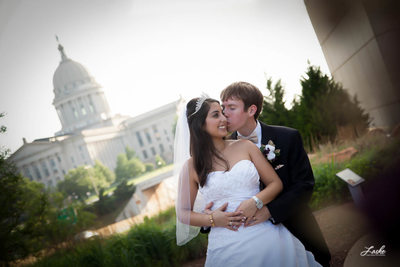 Groom Kisses Bride Oklahoma State Capitol