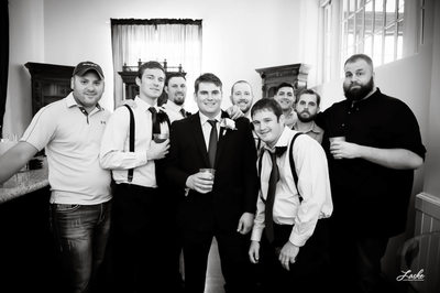 Groom-Groomsmen Pose for a Picture before the Wedding