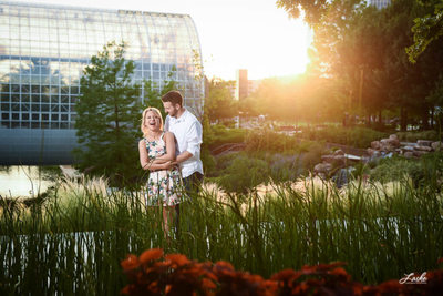 Couple Standing Outside the Myriad Botanical Gardens