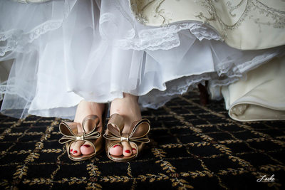 Close Up of Bride's Shoes on Her Wedding Day
