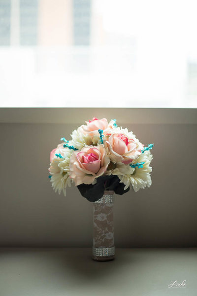 Bridal Bouquet with Pink, Cream, and Blue Flowers