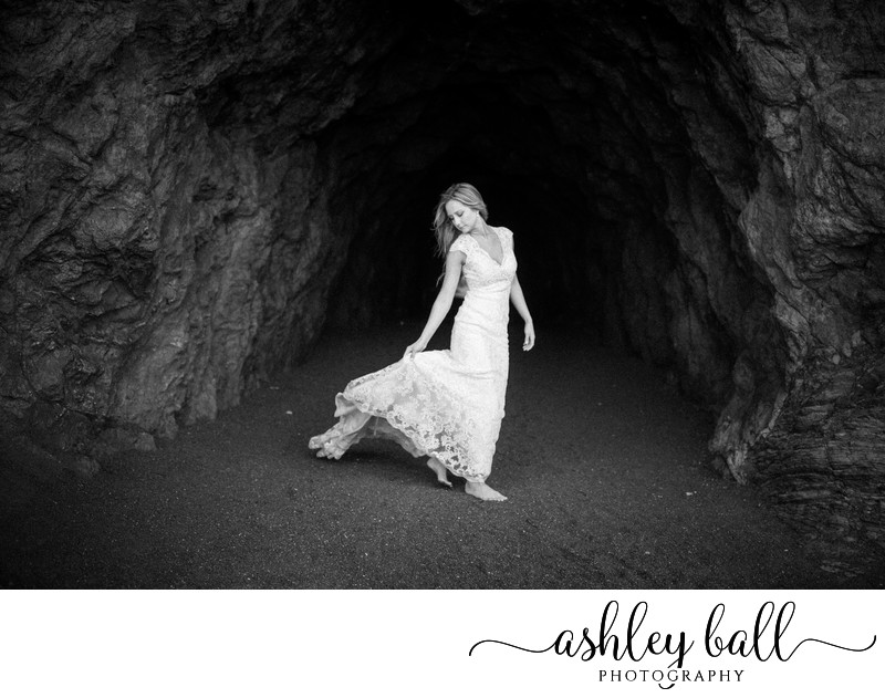 Black and White Bridal Portraits at The Sutro Baths