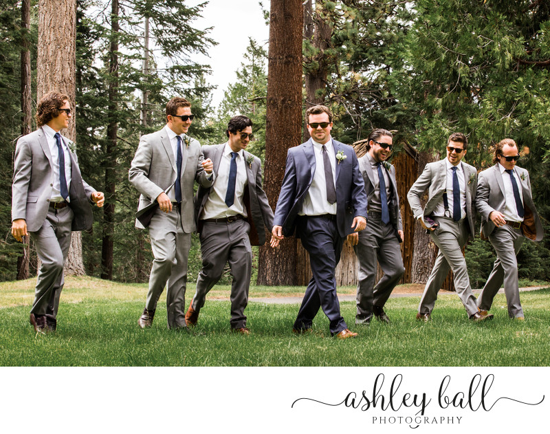 Groom with Group of Groomsmen at Lake Tahoe Wedding
